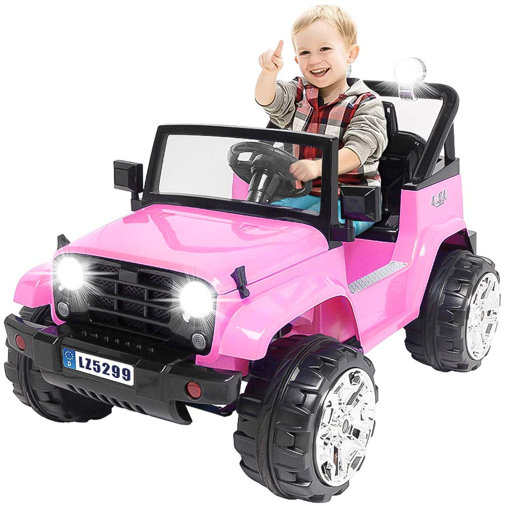 Kuntai Kids Electric Car, 12V Battery Powered Car for Kids,Kids Ride on Car with Remote Control, LED Lights, MP3 Player, Safety Belt, Spring Suspension, Dual Drive (Pink)
