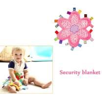 Newborn Baby Girl Security Blanket - Toddler Soft Taggy Blanket, Pink Flower Shape Teething Toy Kids Sleep Helper