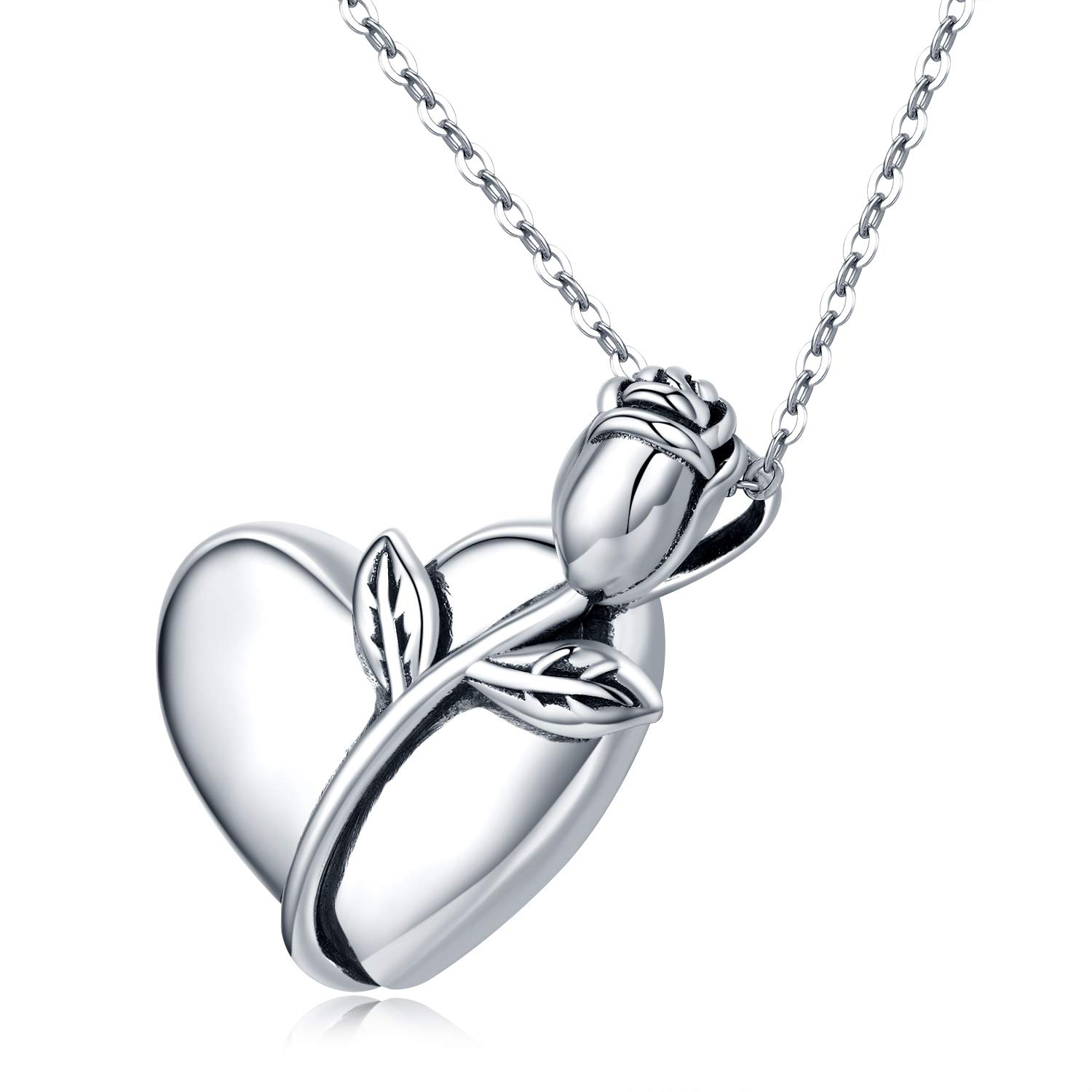 PRAYMOS 925 Sterling Silver Urn Necklace for Ashes Cremation Jewelry for Ashes of Loved Ones Keepsake