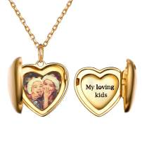 """925 Sterling Silver Customized Full Color Photo Locket Necklace with Chain 16-22"""" Memorial Picture Personalized Jewelry, Back Side Text Engravable"""