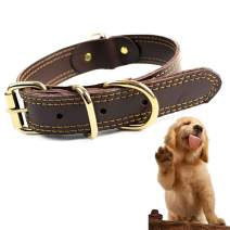 Sunny seat Genuine Leather Dog Collar - Small Large Pet Collar - Brown Soft Touch and Durable Real Cow Leather Collars for Pet Training Outdoors