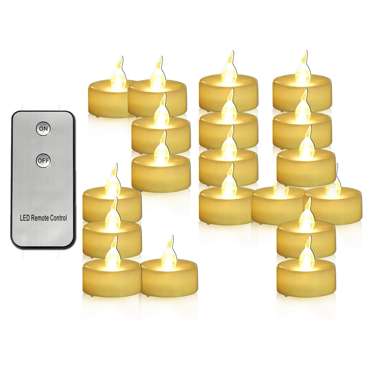 Youngerbaby 24 Pack Battery Operated Tea Lights with Remote Flickering Warm White Led Tealights Mini Flameless Candles Indoor Outdoor Wedding Centerpieces Decor Birthday Party Thanksgiving - 1.4 Inch