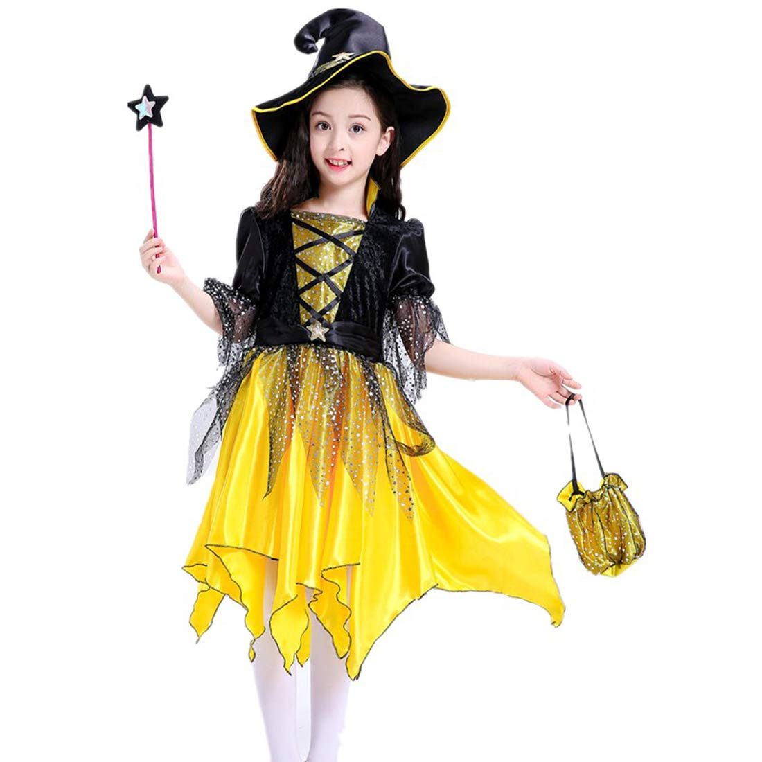 Witch Costumes for Girls, Child's Halloween Party Princess Fancy Dress with Witch Hat, Pumpkin Candy Bag & Magic Wand
