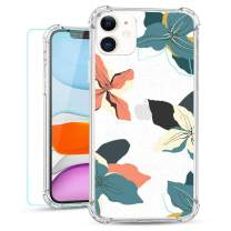 Ruky Clear Flower Case for iPhone 11 Floral Glitter Design Ultra-Thin Soft TPU Cover with Screen Protector Protective Girls Women Phone Case for iPhone 11 6.1 inches (Tropical Floral)