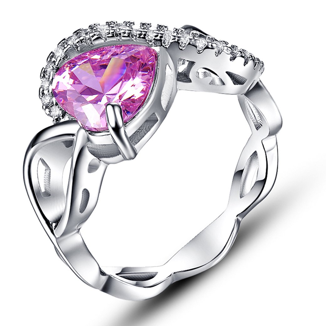 Narica Women's Fashion 8mmx8mm Heart Shaped Celtic Knot Pink Topaz Ring Band
