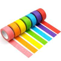 Colored Masking Tapes, 1 INCH Colorful Masking Roll Tape for Kids and Adults, Fun Rainbow Masking Tapes for Arts Crafts, School Projects, Party & Home Decoration, Office Supplies and More