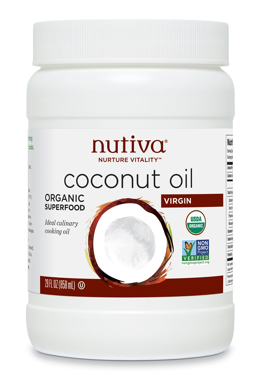 Nutiva Organic, Cold-Pressed, Unrefined, Virgin Coconut Oil from Fresh, non-GMO, Sustainably Farmed Coconuts, 29 Fluid Ounces