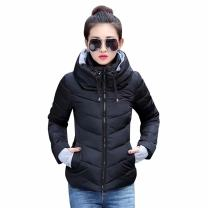 SUSIELADY Womens Winter Jacket Parkas Thicken Outerwear Solid Hooded Coats Short Slim Cotton Padded Basic Tops Beige Large