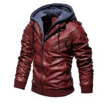 Landscap Men's Leather Motorcycle Jacket Hoodie Zipper Fashion Vintage Casual Outdoor Windbreaker Jacket Coat