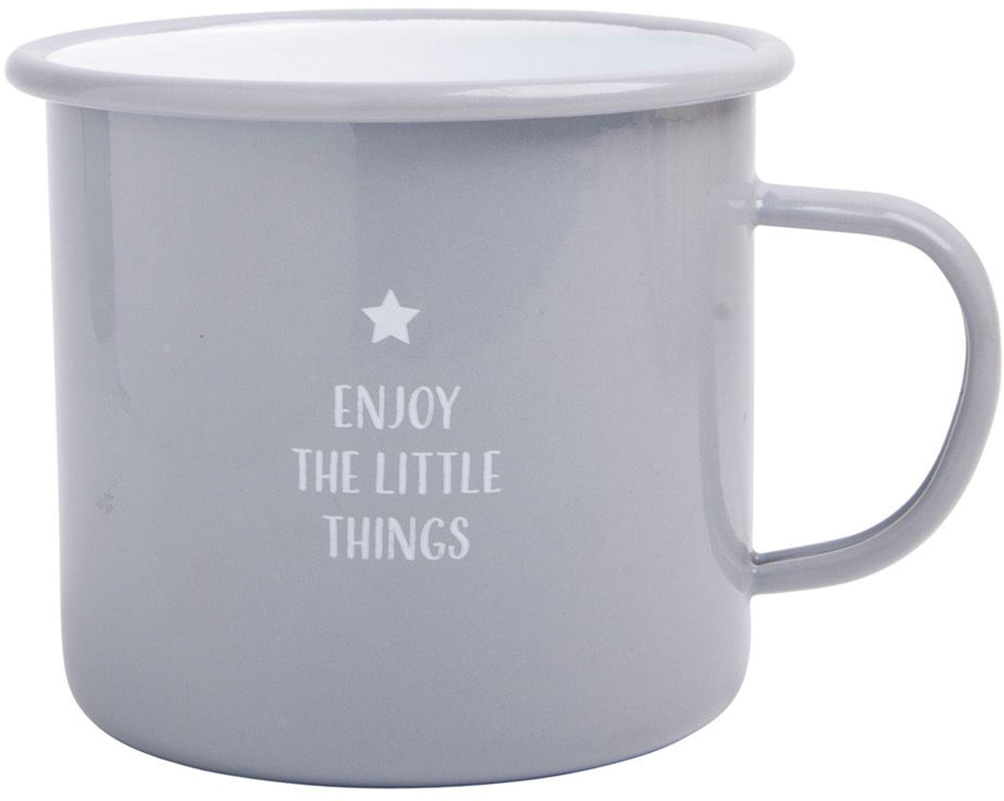 Large Light Weight Camping Coffee Mug - Tin Cup Enamel Coated - Holds 24 Oz (Grey - Enjoy The Little Things)