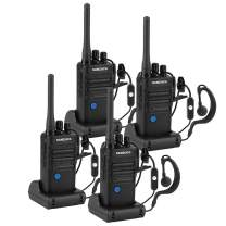 Long Range Rechargeable Two-Way Radio with Earpiece and Group Talk Function, Sanzuco UHF 400-470MHz Reprogrammable Handheld Walkie Talkie, USB Charging Dock Included (4 Packs)