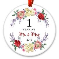 Creawoo 1,2,3,4,5,8,10,15,20,25,30,35,40,45,50,55,60 Years as Mr & Mrs 2019, Anniversary Wedding Gift Unique Christmas Ornament Xmas Tree Decoration