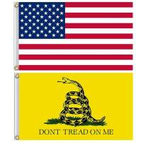 American US Flag and Gadsden Don't Tread on Me Flag Kit with Brass Grommets, Premium Polyester Double Stitched Vivid Color Anti Fading, Outdoor Yard Decor 3x5 Ft, 2 Pack (US Flag+Gadsden Flag)