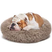 """PHABULS Donut Dog Cat Bed,Soft Plush Pet Cushion,Relief and Improved Sleep,Faux Fur Anti-Anxiety Machine Washable Fluffy Orthopedic Puppy Beds for Small Dogs and Cats-16×16"""""""