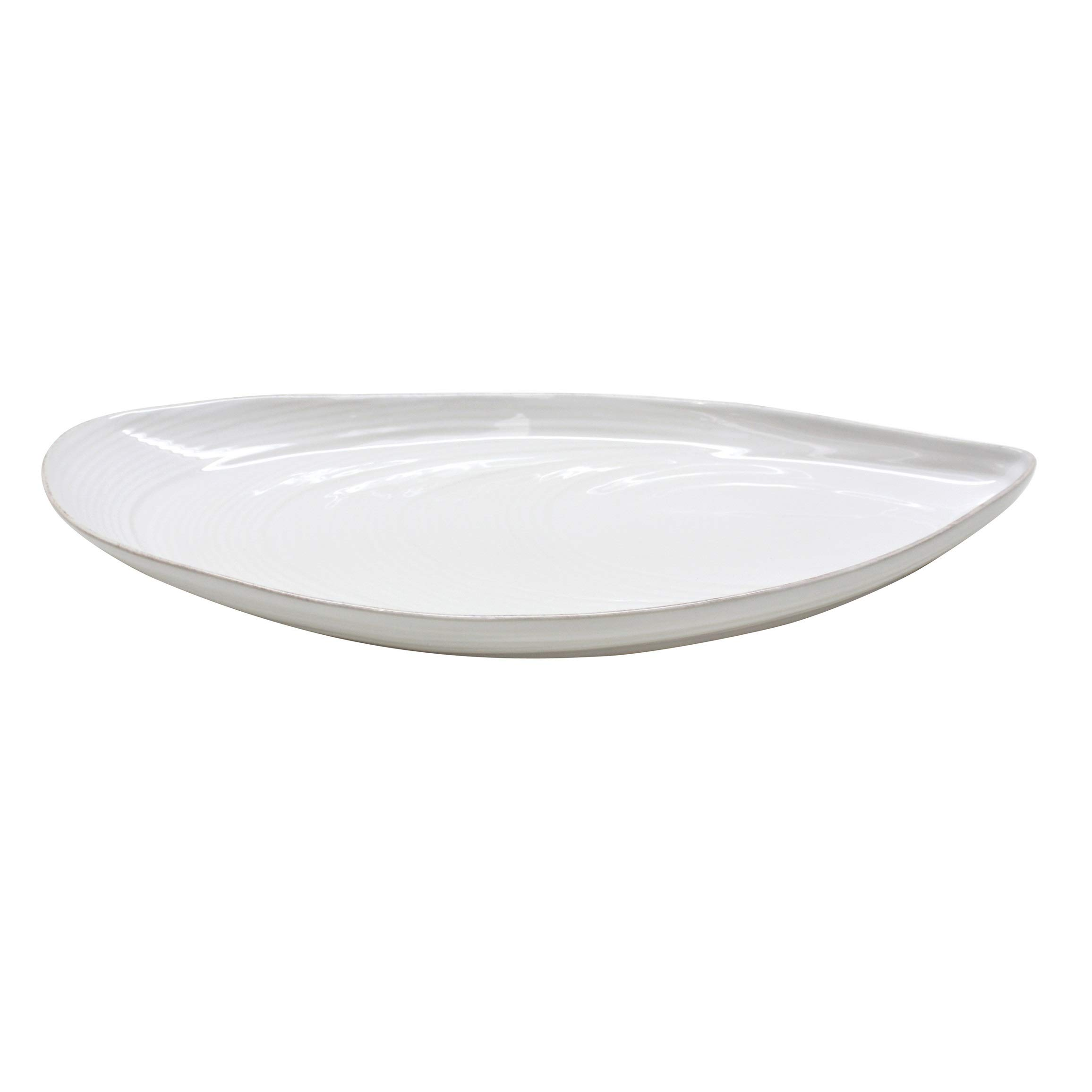 "COSTA NOVA Aparte Collection Stoneware Ceramic Mussel Platter Large 18"", White"