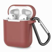 Airpods Case, Coffea AirPods Accessories Shockproof Case Cover Portable & Protective Silicone Skin Cover Case for Airpods 2 & 1 (Front LED Not Visible) - Brown
