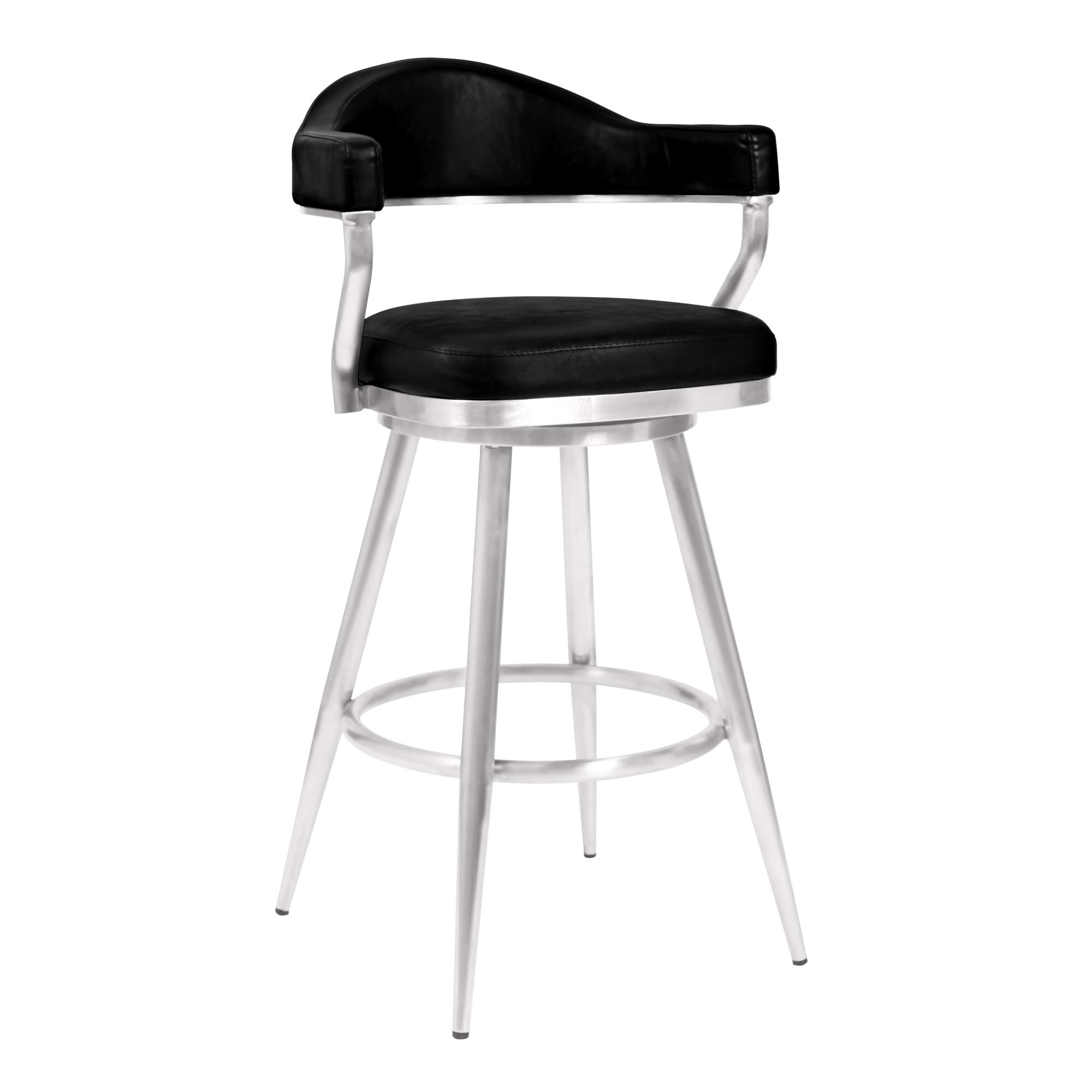 "Armen Living Amador 26"" Counter Height Barstool in Brushed Stainless Steel and Vintage Black Faux Leather"