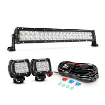 Nilight 22Inch 120W Spot Flood Combo Led Light Bar 2PCS 4Inch 18W Flood LED Pods Fog Lights with 16AWG Wiring Harness Kit-2 Leads,2 Years Warranty