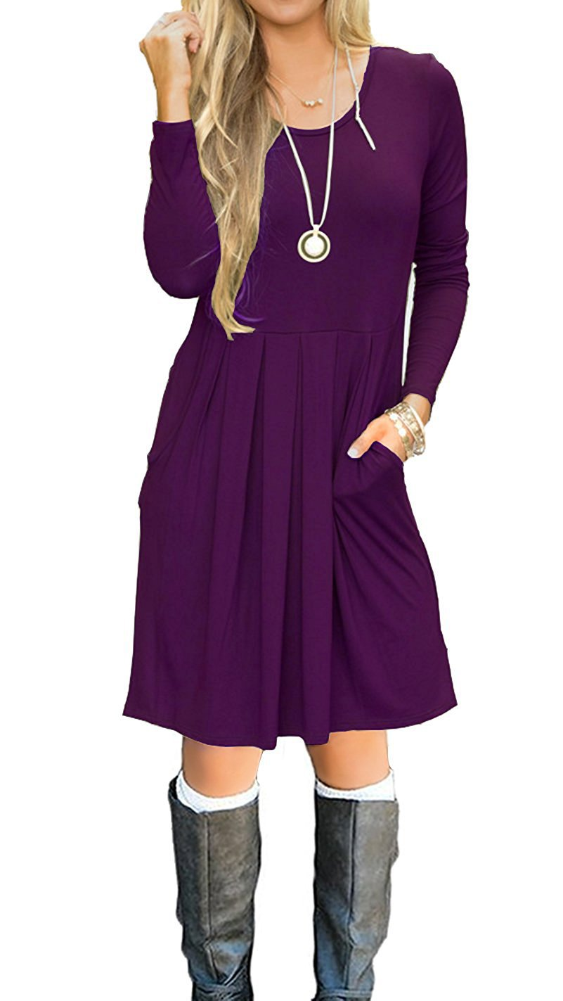I2CRAZY Ladies Dresses Long Sleeve Pockets Casual Loose T-Shirt Dress - XL, Purple