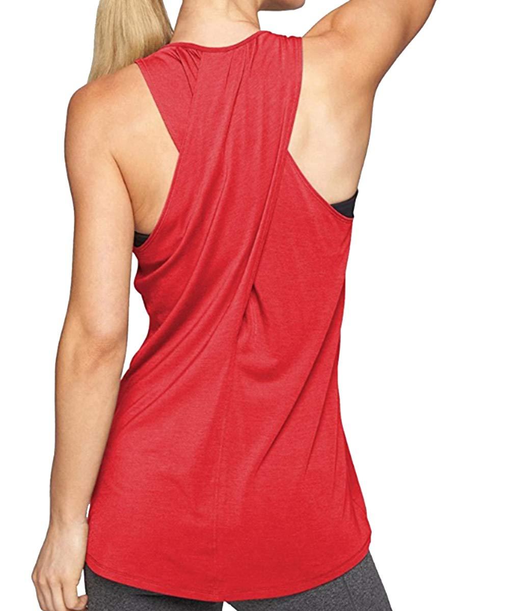 Meegsking Women's Cross Back Yoga Shirts Loose Casual Activewear Workout Racerback Tank Tops