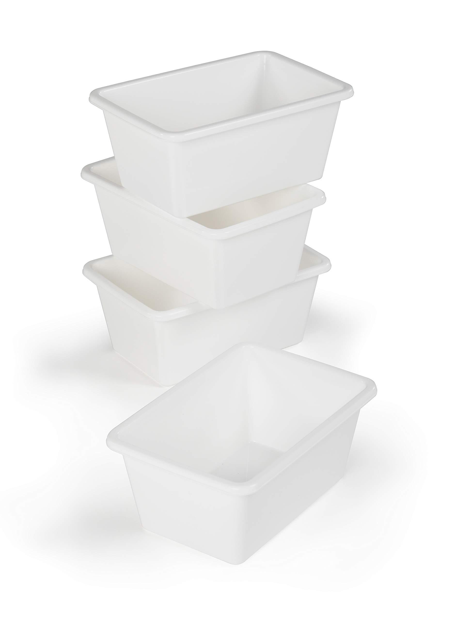 Humble Crew (White) Plastic Storage Bins, Small, Set of 4