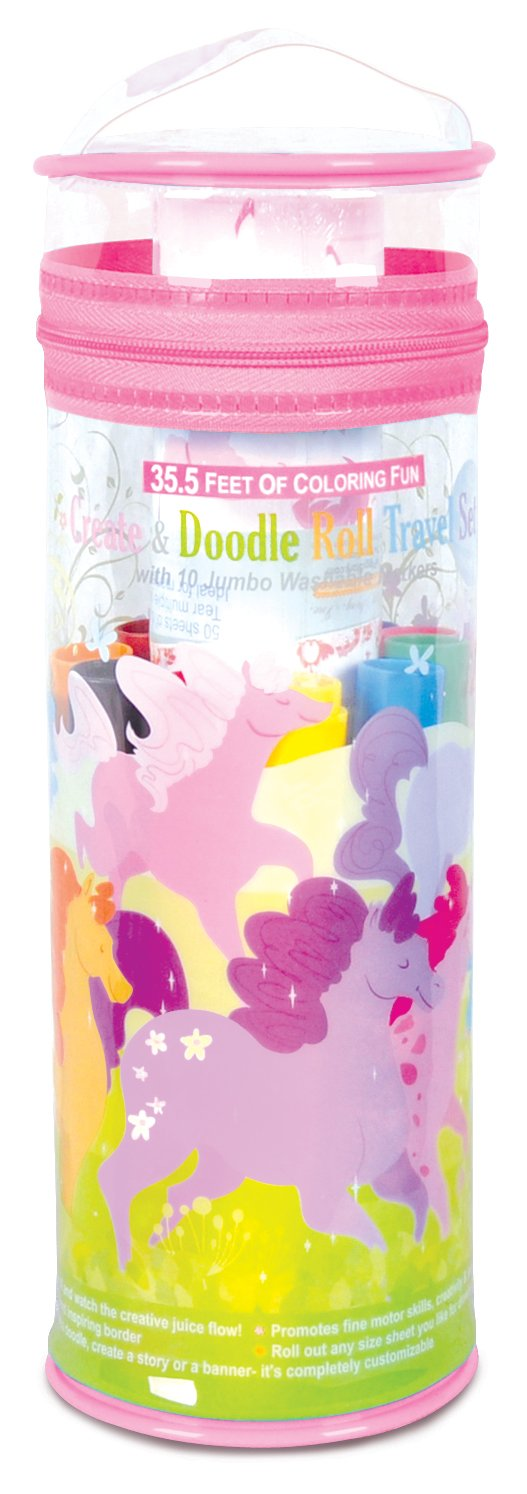The Piggy Story 'Dancing Ponies' Create & Doodle Art Paper Roll Travel Set with Markers