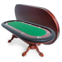 BBO Poker Rockwell Poker Table for 10 Players, 94 x 44-Inch Oval, Includes Matching Dining Top