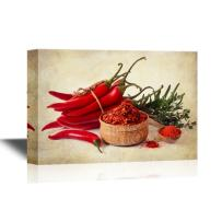 wall26 - Canvas Wall Art - Red Peppers on Vintage Style Background - Gallery Wrap Modern Home Decor | Ready to Hang - 16x24 inches