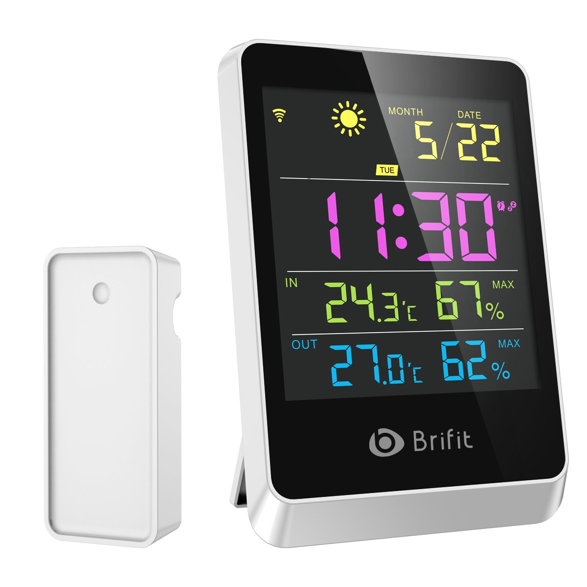 Wireless Hygrometer Indoor Outdoor Thermometer Humidity Monitor, Weather Station, Large Display Digital Tabletop, Weather Forecast, Alarm Clock & Snooze Function for Home, Bedroom