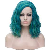 Alacos Fashion 35cm Short Curly Full Head Wig Heat Resistant Daily Dress Carnival Party Masquerade Anime Cosplay Wig +Wig Cap (Green mix Blue)