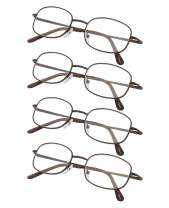 4-Pack Metal Frame Reading Glasses with Spring Hinged Arms for Women and Men Readers