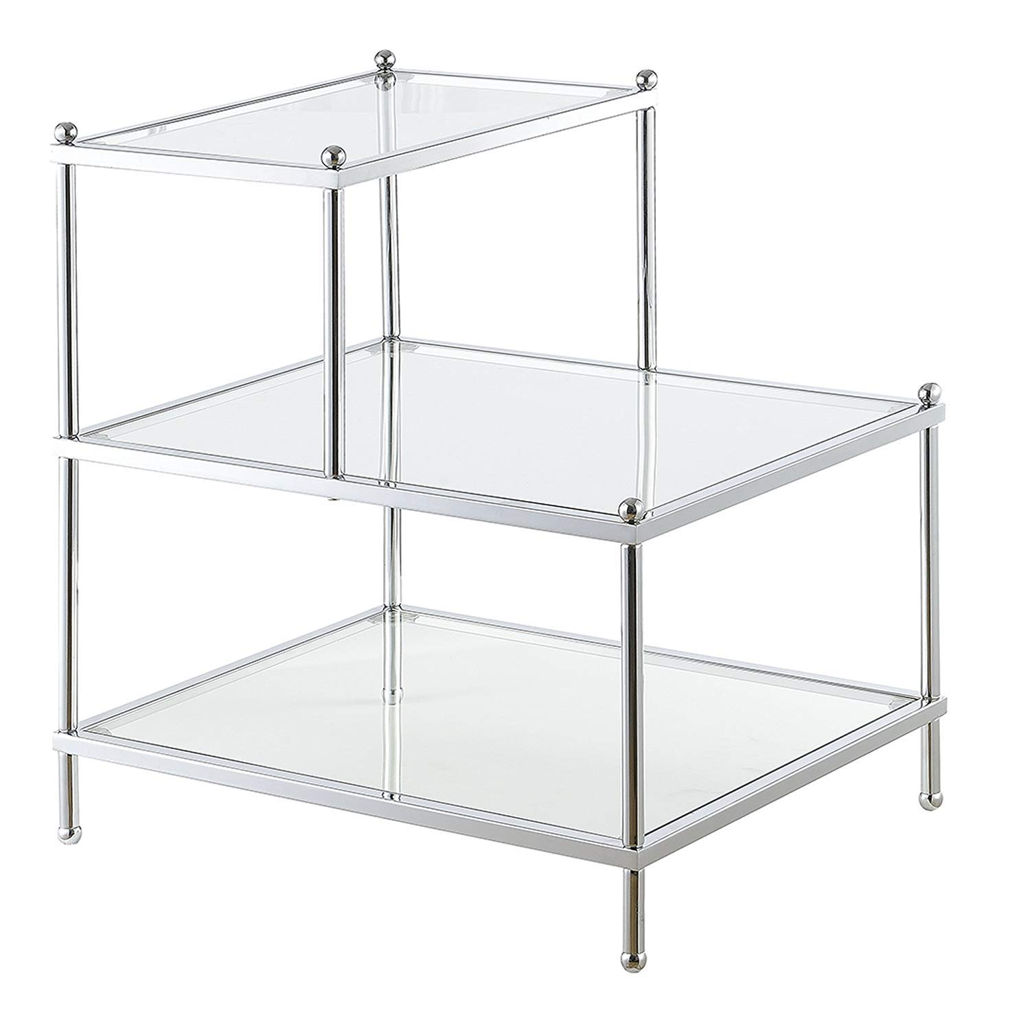Convenience Concepts Royal Crest 3 Tier Step End Table, Clear Glass / Chrome Frame
