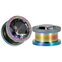 TBOSEN Colorful Dull Polish Ear Tunnels Titanium Steel Gauges Zircon Plugs Sold as 2pcs