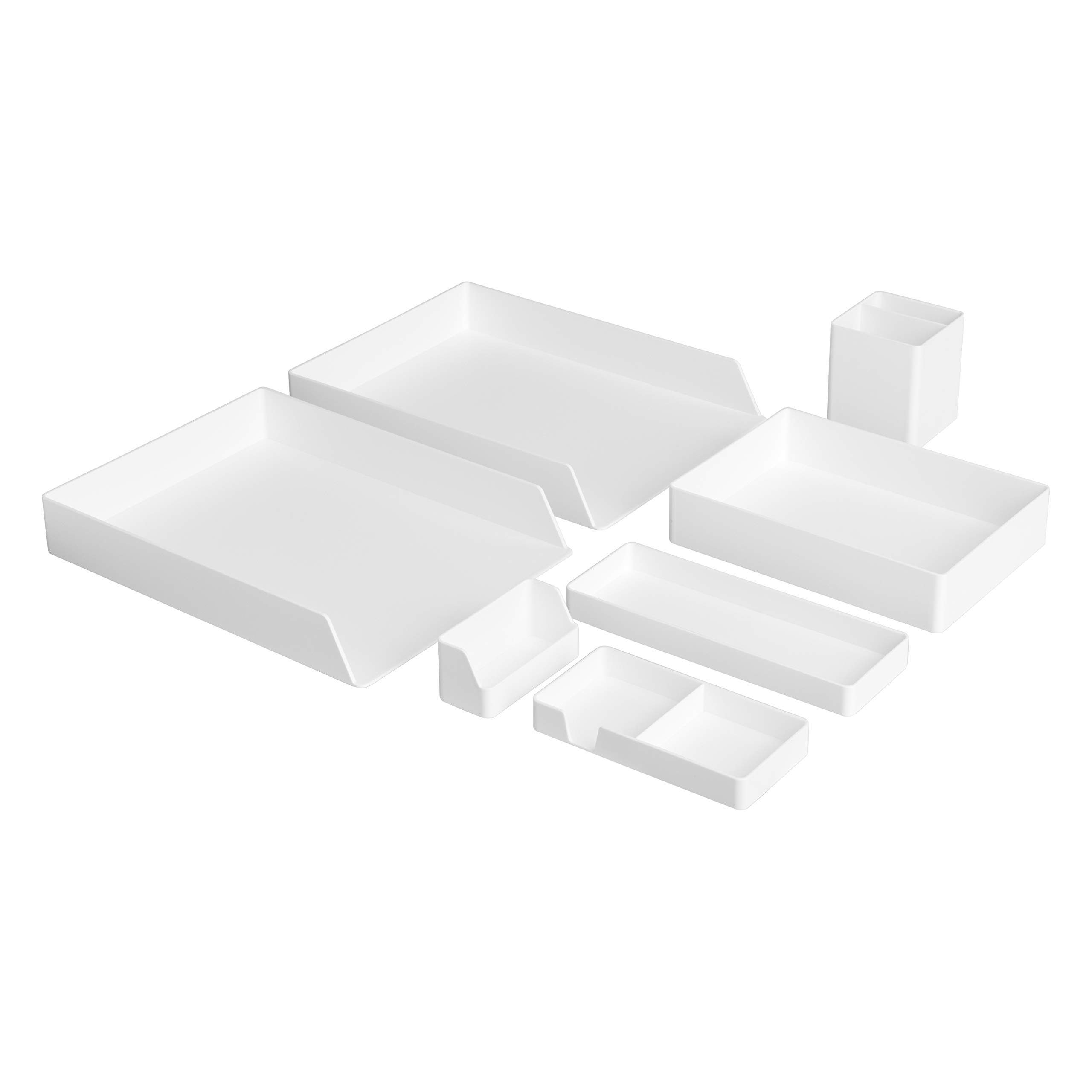 AmazonBasics Plastic Desk Organizer Bundle- Letter Tray 2-Pack/Accessory Tray/Half Accessory Tray/Small Tray/Pen Cup/Name Card Holder, White