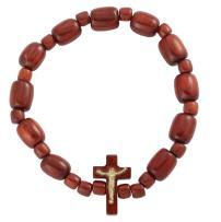 Catholica Shop Catholic Religious Wear Wood Beads Rosary Stretch Bracelet with Cross Crucifix - Made in Brazil