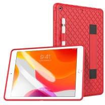 """TiMOVO Case for New iPad 8th Generation 2020 / iPad 7th Generation 10.2"""" 2019, Soft Kids Friendly Shockproof Silicone Protective Case with Hand Strap & Pencil Holder Fit iPad 10.2-inch - Red"""