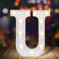 ODISTAR LED Light Up Marquee Letters, Battery Powered Sign Letter 26 Alphabet with Lights for Wedding Engagement Birthday Party Table Decoration bar Christmas Night Home,9'', White(U)