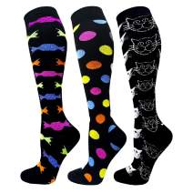 Compression Socks For Women&Men 1/3/6 Pairs - Best Medical for Running Athletic Flight Travel Circulation Recovery, 20-30mmHg (01 Assorted 24-3 Pairs, Small/Medium)