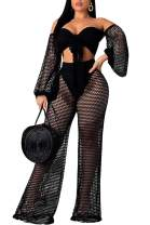 IyMoo 2 Piece Sexy Outfits for Women Clubwear Women See Through Off Shoulder Crop Tops Party Jumpsuit