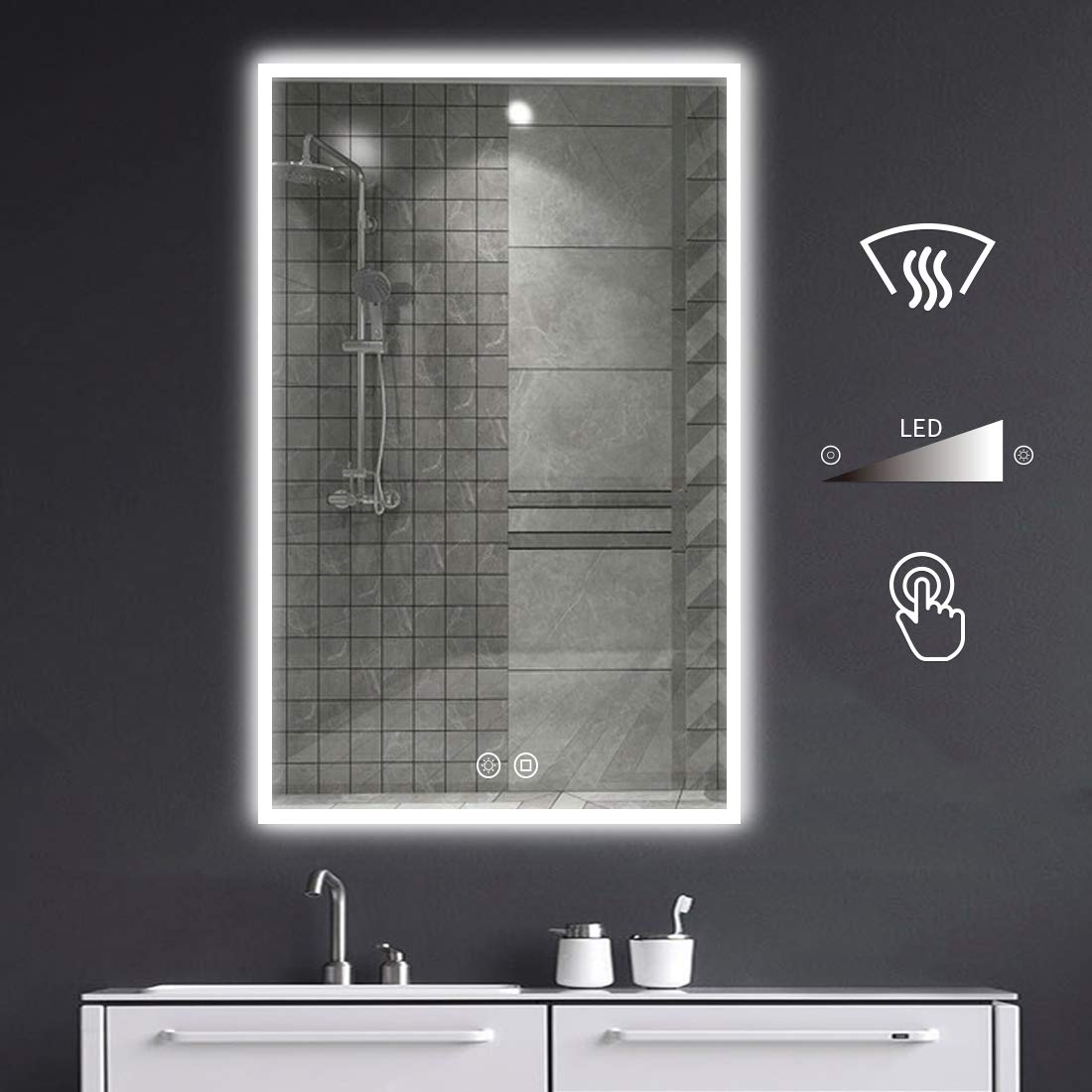 BYECOLD LED Bathroom Mirror with Double Touch Switch Anti-Fog Wall Mirror, Adjustable Color Lights,Dimmable Brightness, LED Lighted Vanity Make up Mirror Vertical & Horizontal - 39.4''x23.6''