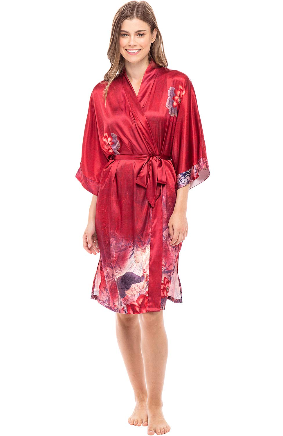 Alexaner Del Rossa Women's Midi Length Satin Kimono Wrap - Belted Robe with Pockets, Limited Edition Print