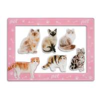 Fridge Magnets Fridge Stickers,Cat Refrigerator Magnets, Pattern Decoration Kitchen Magnets,Small Funny Magnets for Home School Classroom Whiteboard Office Coffee Shop Message Board(5pcs Cat)