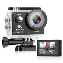"""Action Camera ZONKO 4K 16MP 4X Zoom Wi-Fi Sports Camera 2"""" LCD Remote Control Waterproof Camera with 170°Wide Angle 2×1050mAh Batteries Include 19 Accessories kit - Free Carrying Case"""