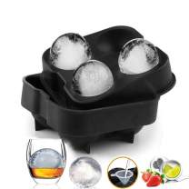 Ice Cube Trays, Silicone Ice Cube Trays Sphere Ice Ball Maker with Lid and Large Ice Cube Molds for Whiskey and Cocktails or Homemade - Reusable and BPA Free - 5 x 5 x 2 in(Ball diameter 1.8in) Black