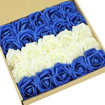 N&T NIETING Roses Artificial Flowers, 25pcs Real Touch Artificial Foam Rose with Stem for Decoration DIY Wedding Bridesmaid Bridal Bouquets Centerpieces, Party Decoration, Home Display (Ivory&Blue)
