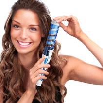 SexyBeauty Professional Portable Hair Salon Spiral Curl Waver Maker Ceramic Curling Wand Iron Hair Curler Curling Wand (sky blue)