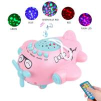 Baby Sleep Soother Night Light Projector Push and Go Plane Educational Crib Toy with Remote Melodies Music Story Poetry Star Light for Toddler Indoor or Outdoor Gift Pink (500+ Contents)