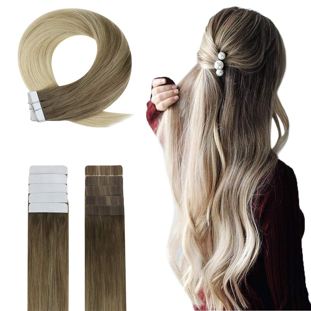 Easyouth Human Hair Tape Extensions 22 Inch 50g 20Pcs Per Package Colour Ash Brown Fading To Blonde Glue In Hair Extensions Skin Weft Hair
