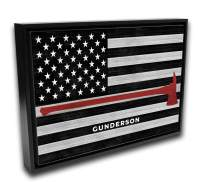 Pretty Perfect Studio Custom Thin Red Line, Firefighter Name Sign | 16x20 Black Framed Ready-to-Hang Canvas, Personalized Fire Department Wall Art Gift, Fireman Home Decor