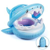 PALADOU Baby Swimming Pool Float with Canopy for Kids Aged 9-36 Months Fun on The Water, Baby Swim Floaties Shark Ring Boat Floating